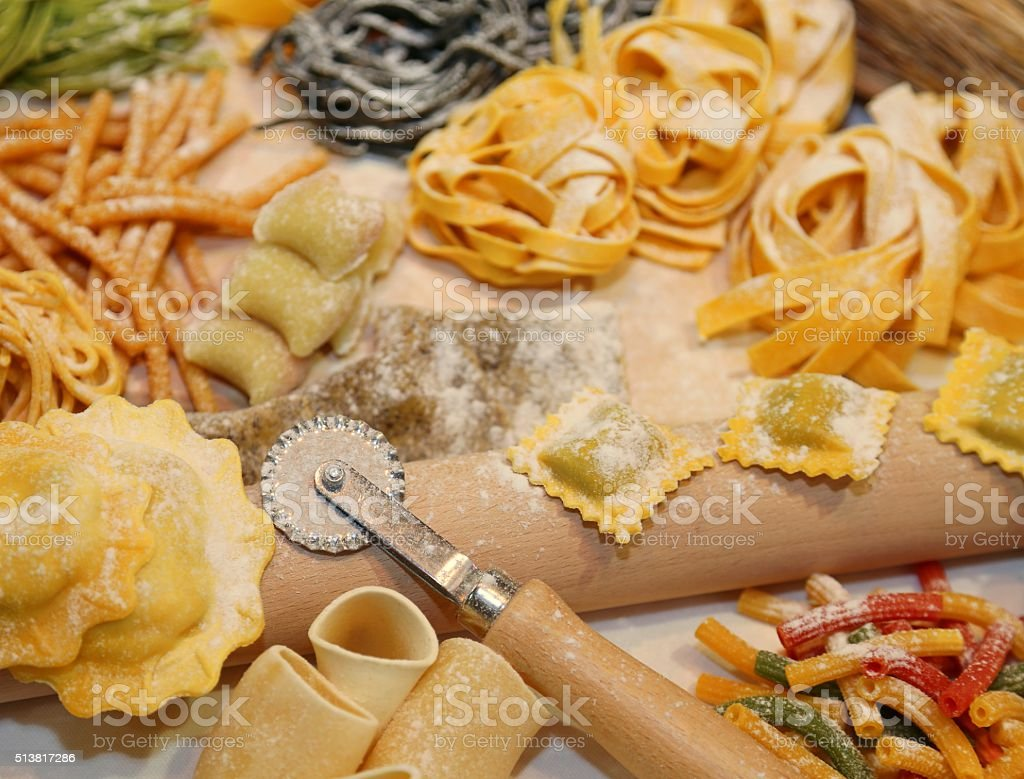 ravioli and other fresh homemade pasta in Italy stock photo