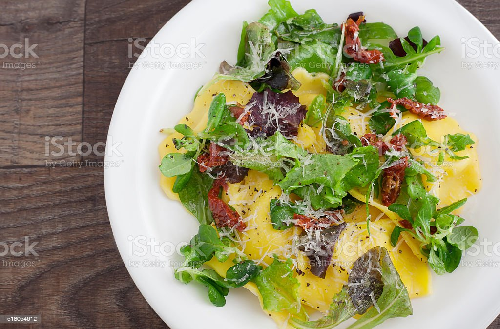 Ravioli and Salad royalty-free stock photo