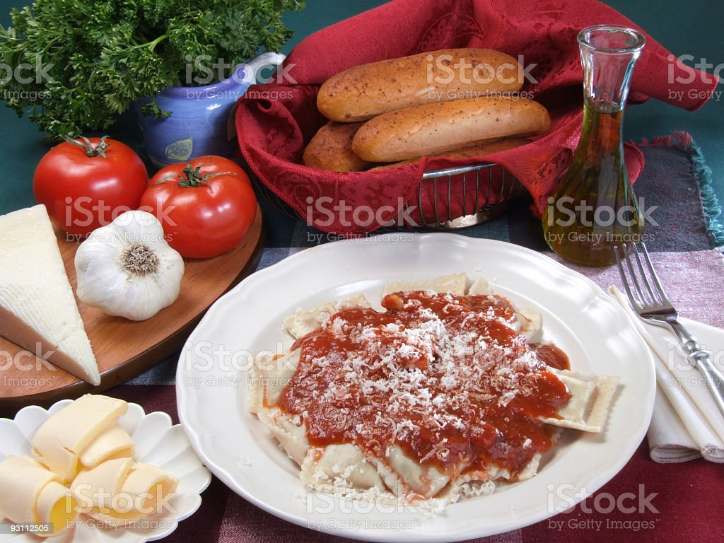 Ravioli Dinner and Fresh Vegetables in a Plate on Table royalty-free stock photo