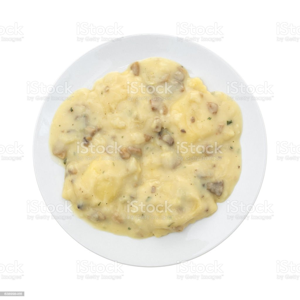 Ravioli in a cheese and mushroom sauce meal stock photo