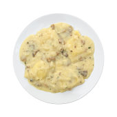 Ravioli in a cheese and mushroom sauce meal
