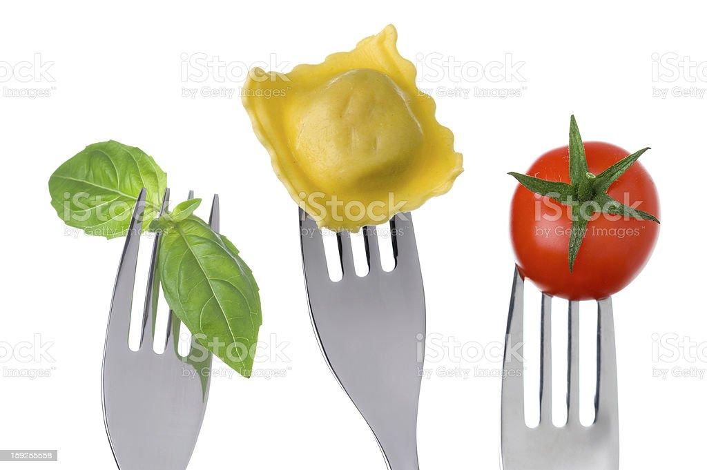 ravioli pasta tomato and basil royalty-free stock photo