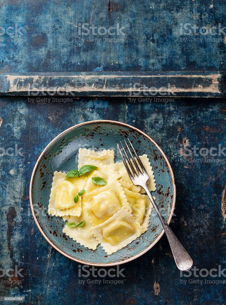 Ravioli pasta with mozzarella stock photo