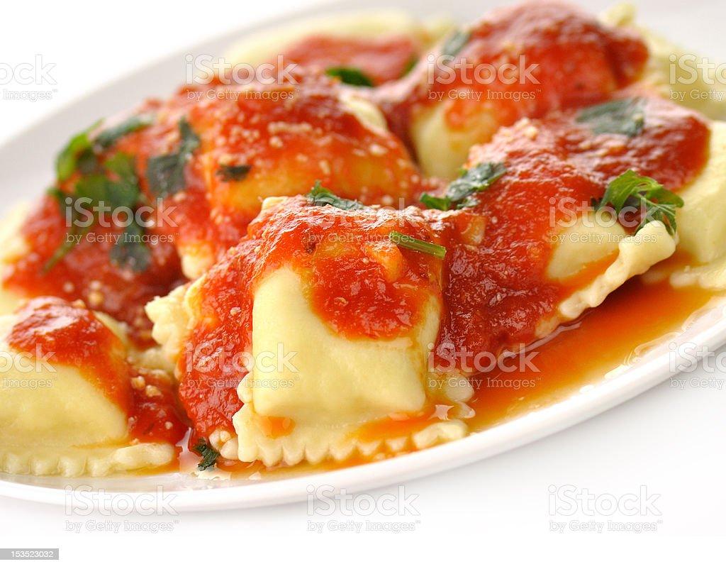 Ravioli pasta with red tomato sauce stock photo