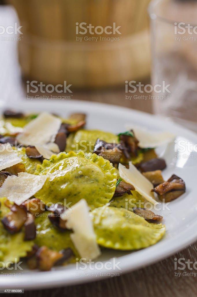 Ravioli with eggplant and parmesan royalty-free stock photo