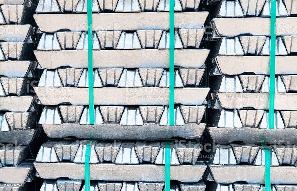 Raw aluminium Ingots. stock photo