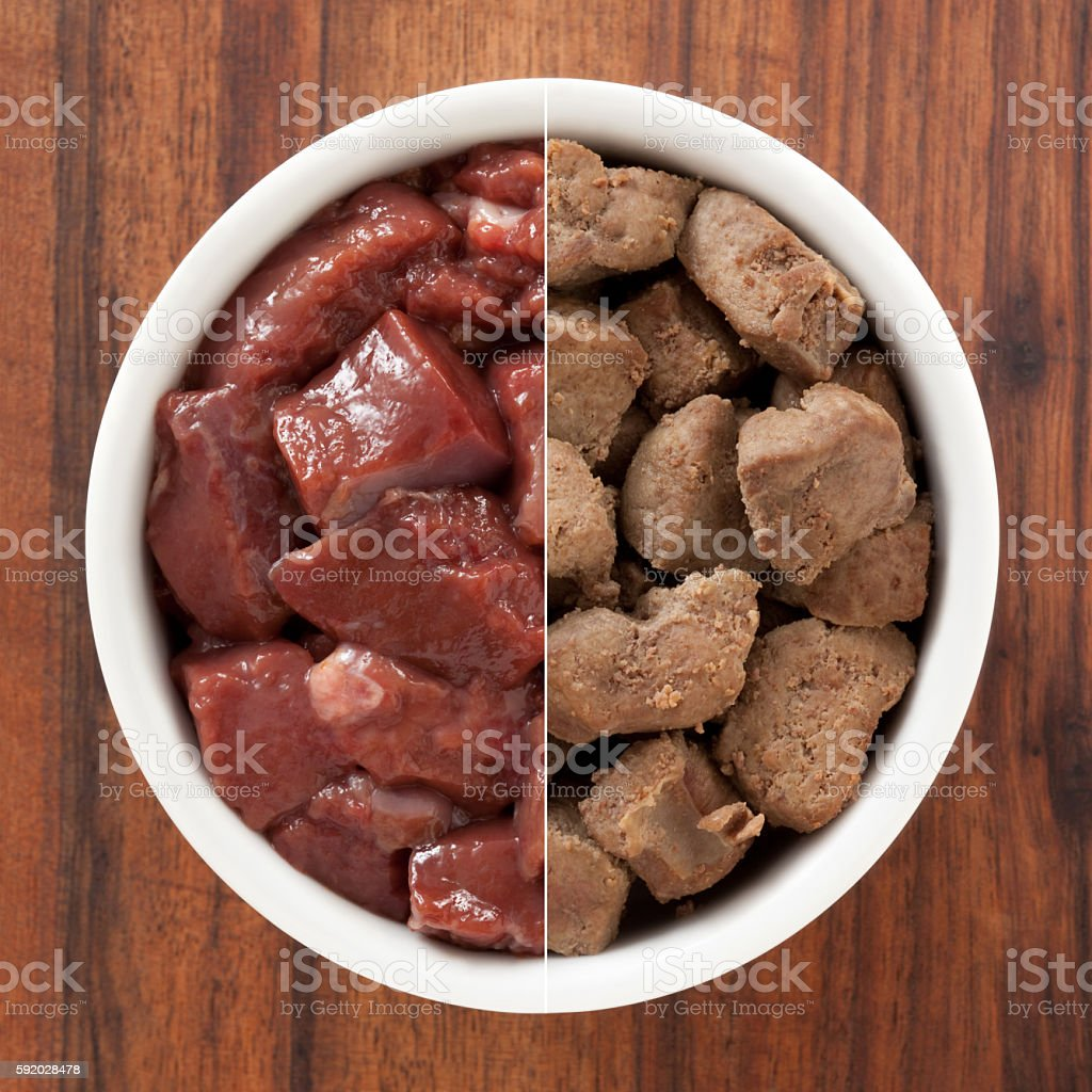 Raw and grilled chopped liver composition stock photo