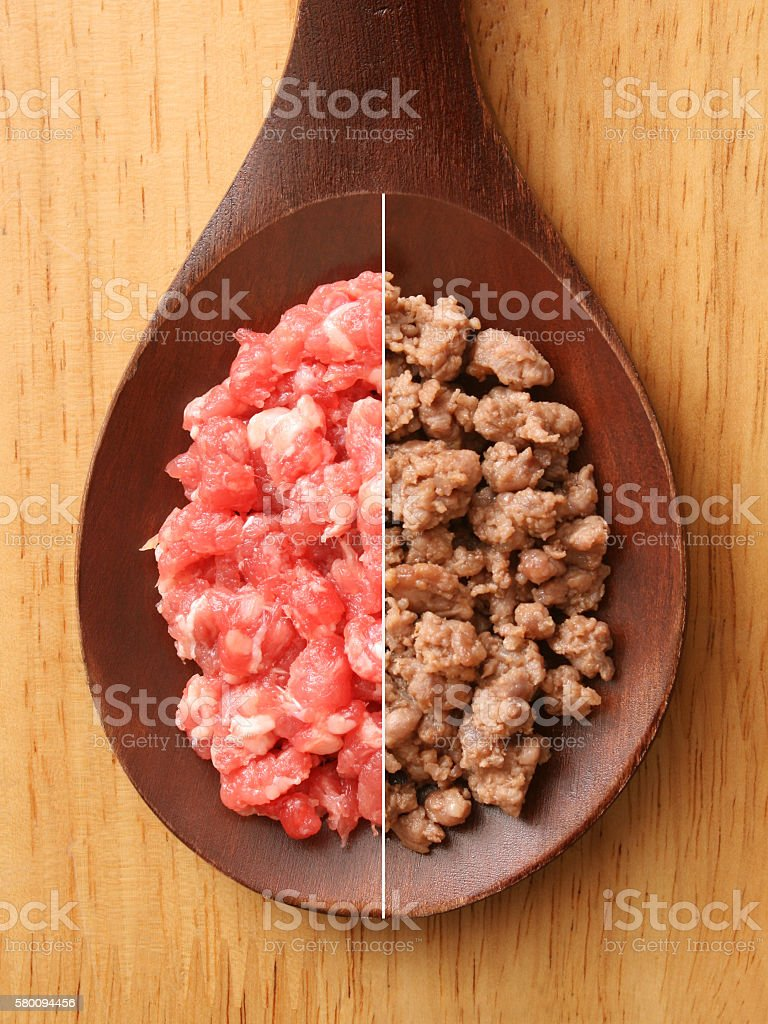 Raw and grilled minced meat stock photo