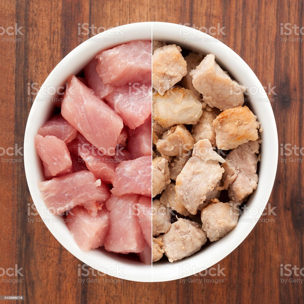 Raw and grilled pork meat composition stock photo