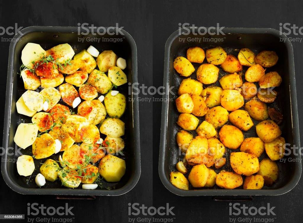 Raw and oven-baked potatoes with garlic and spices before and after shoot stock photo