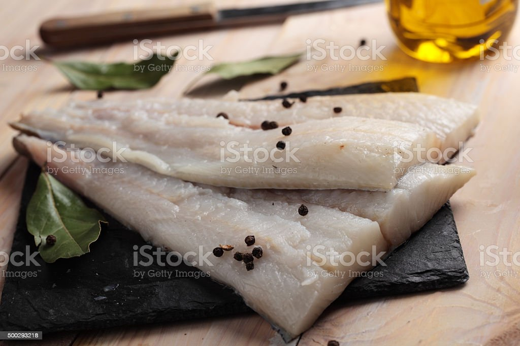 Raw Atlantic halibut fillet stock photo