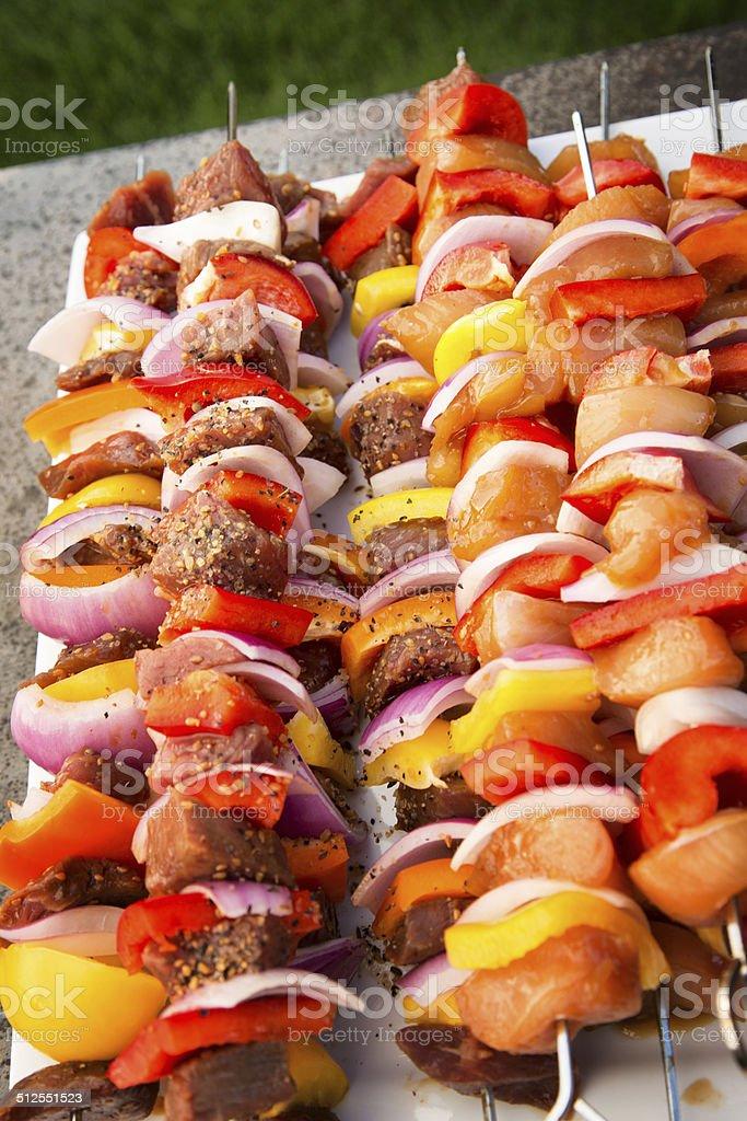 Raw Beef and Chicken Shish Kebab stock photo