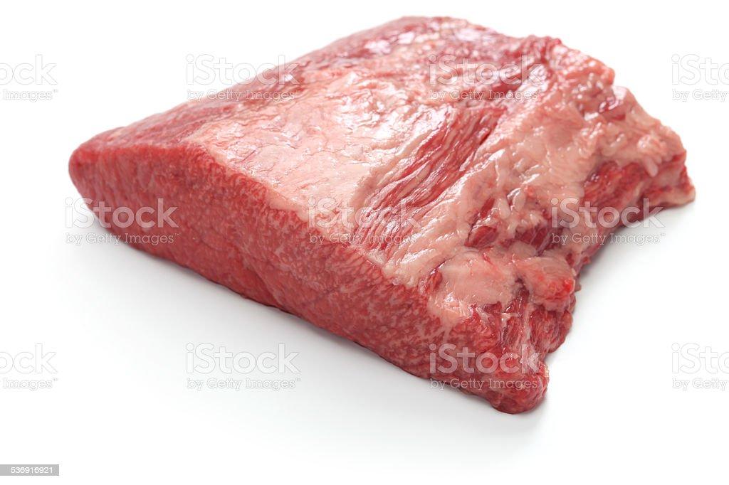 raw beef brisket stock photo