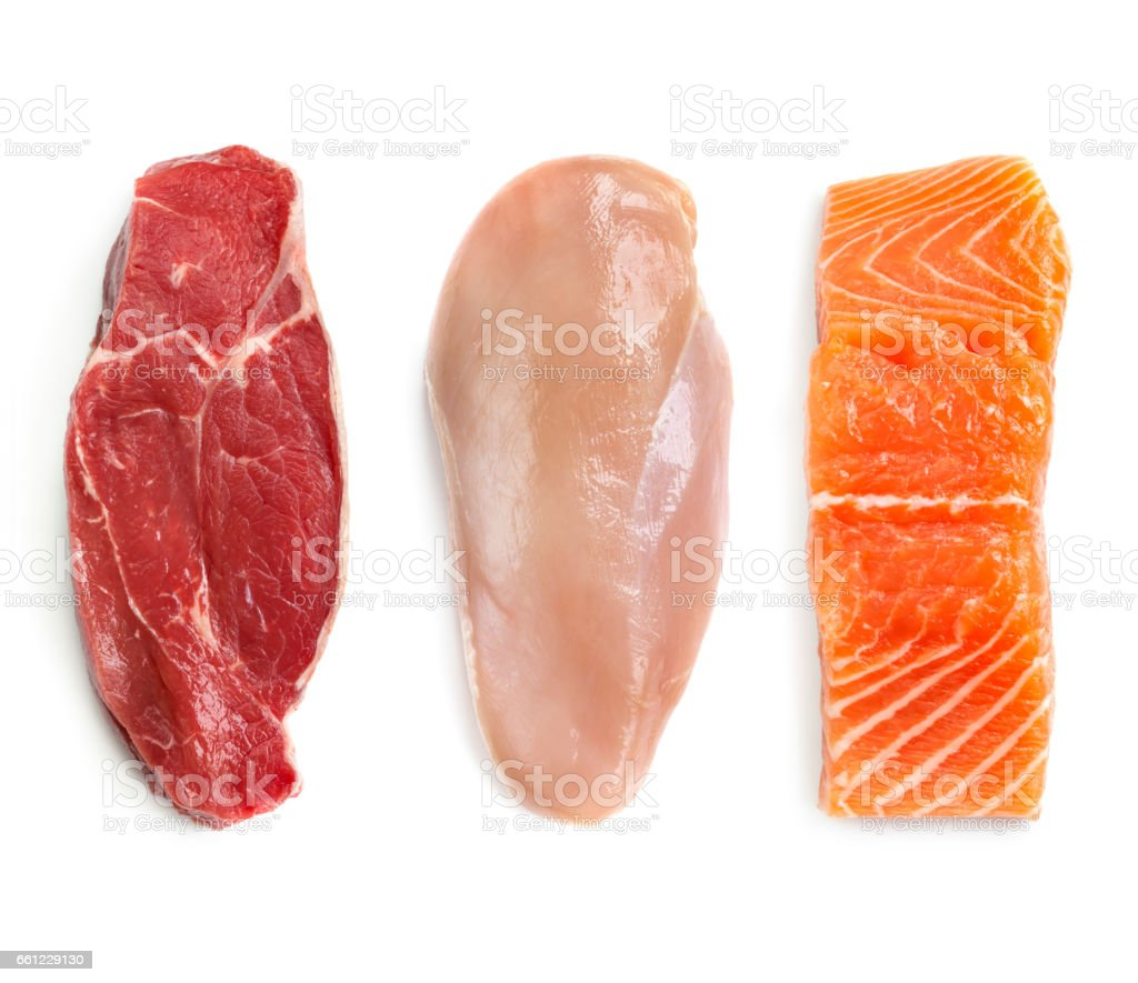 Raw Beef Chicken and Fish Isolated Top View stock photo