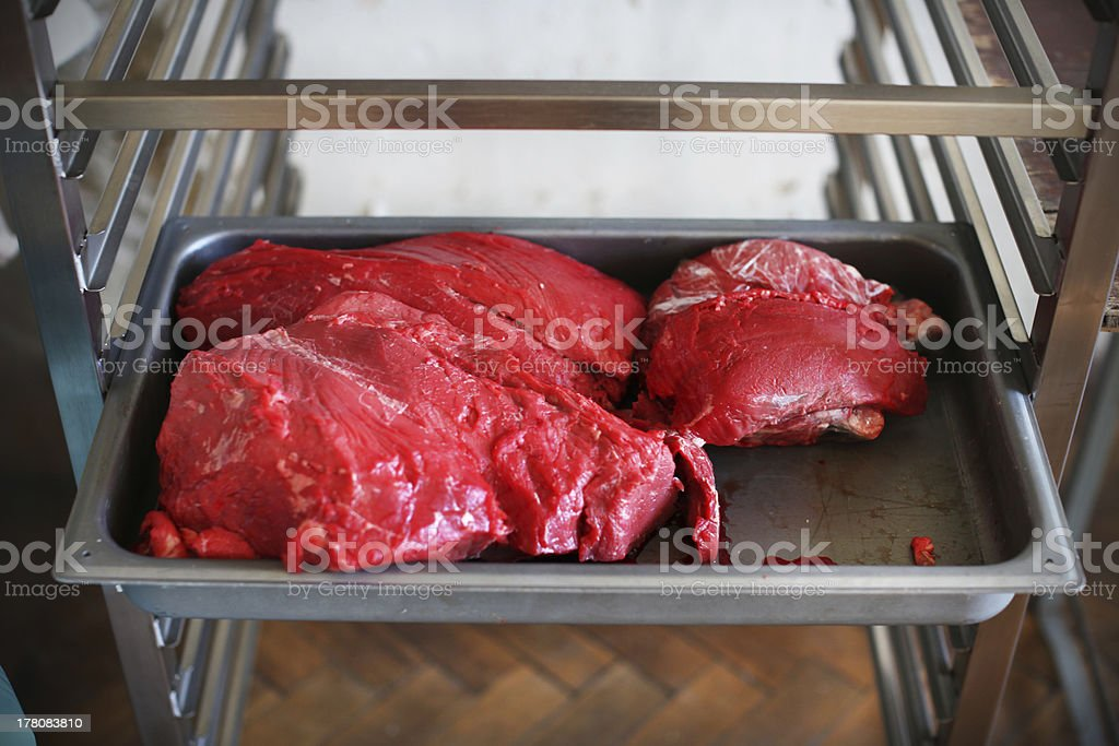 Raw beef meat in big cuts at butcher's shop royalty-free stock photo