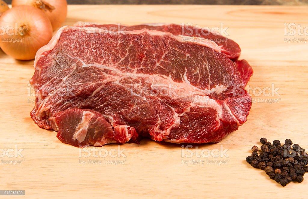 raw braising steak stock photo