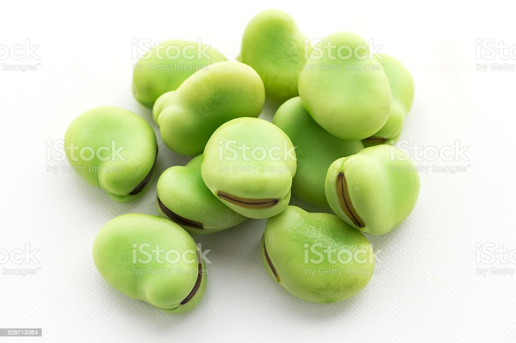 raw broad beans isolated on white stock photo