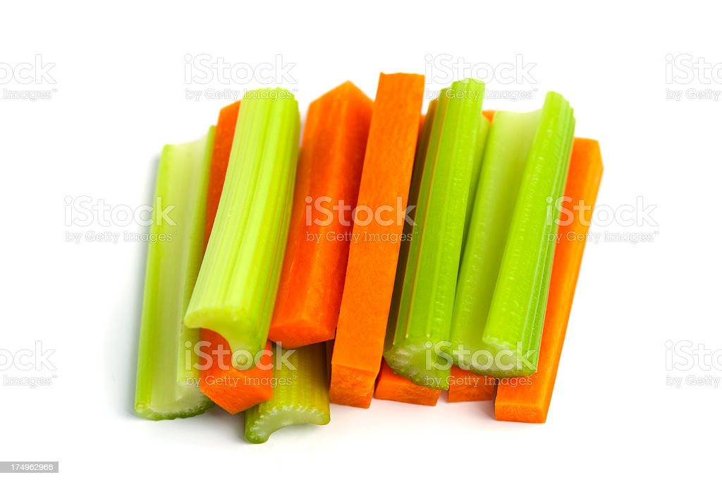 Raw Carrot and Celery Sticks royalty-free stock photo