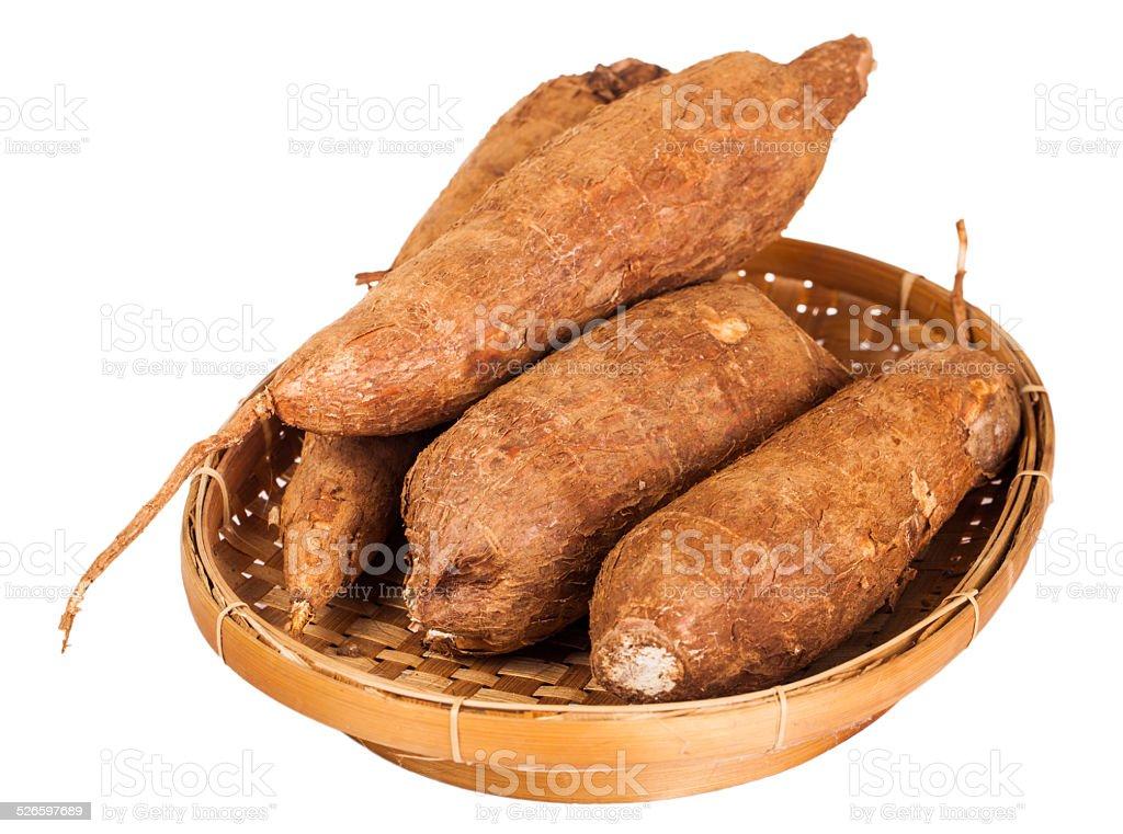 Raw Casava Indonesian Food isolated stock photo