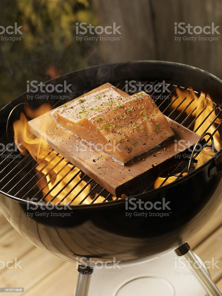 Raw Cedar Plank Salmon Fillet on an outdoor BBQ royalty-free stock photo