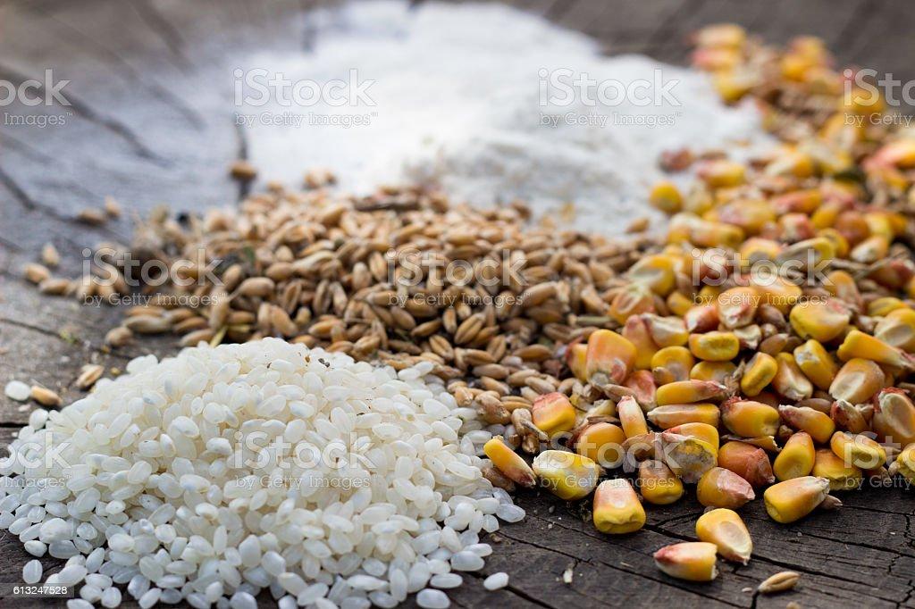 raw cereal foods: corn, rice, flour, oatmeal grains stock photo