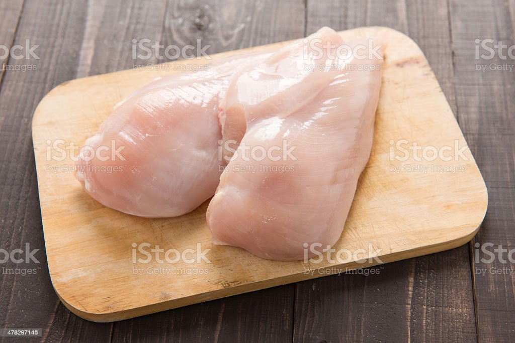 Raw chicken breast fillets on wooden background stock photo