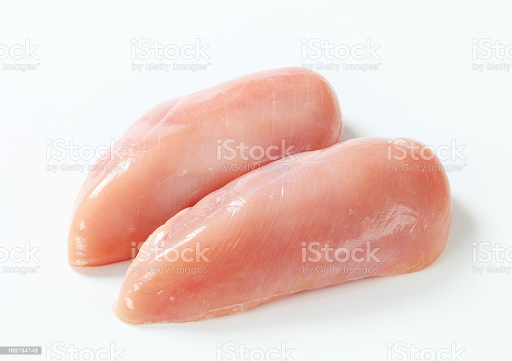 Raw chicken breast fillets stock photo