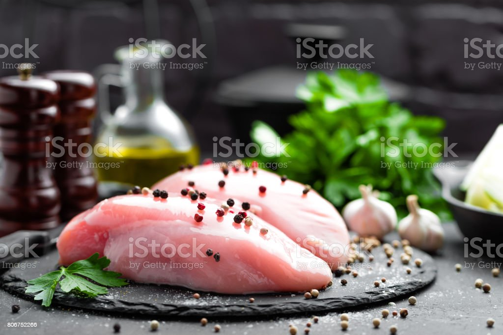 Raw chicken breasts, fillets stock photo