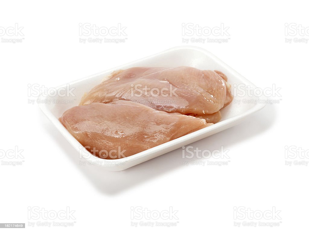 Raw Chicken Breasts in Tray royalty-free stock photo
