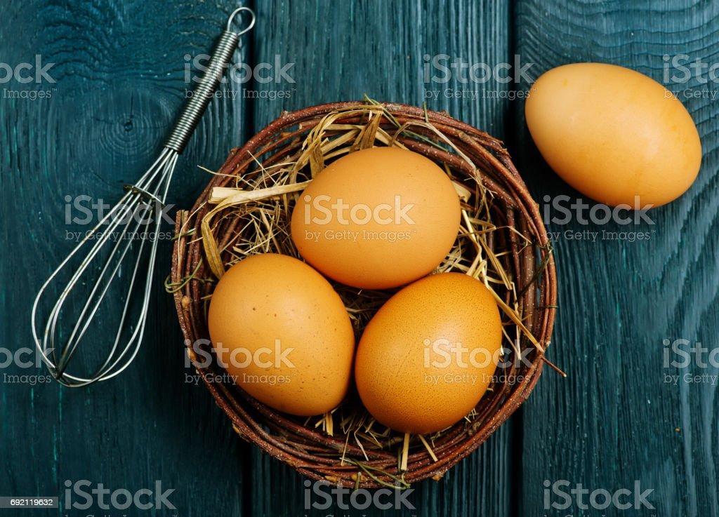 raw chicken eggs stock photo