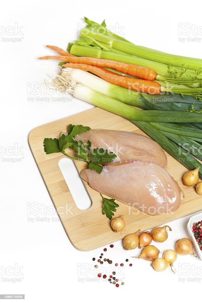 Raw chicken fillet stock photo
