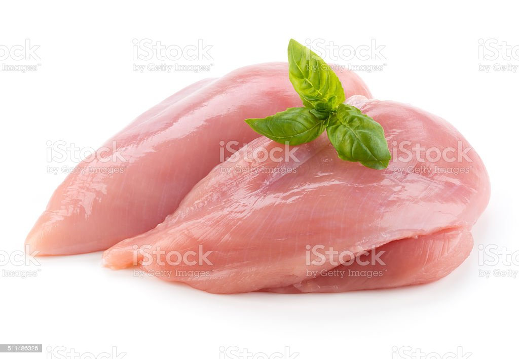 Raw chicken fillets close up isolated on white stock photo