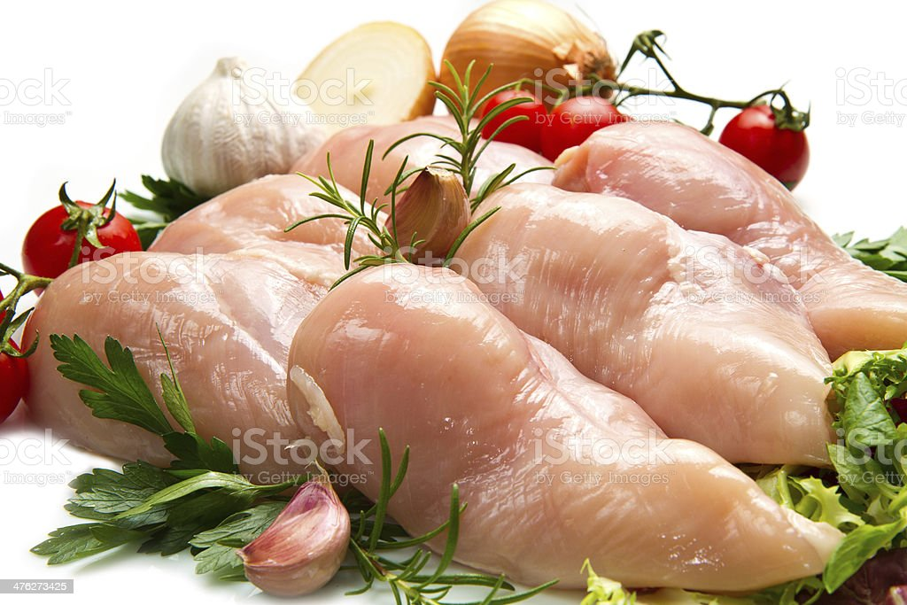 raw chicken fillets close up on white royalty-free stock photo