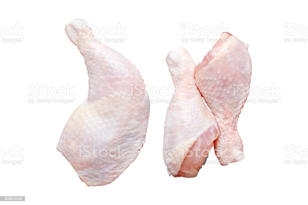 Raw chicken legs. Isolated. stock photo