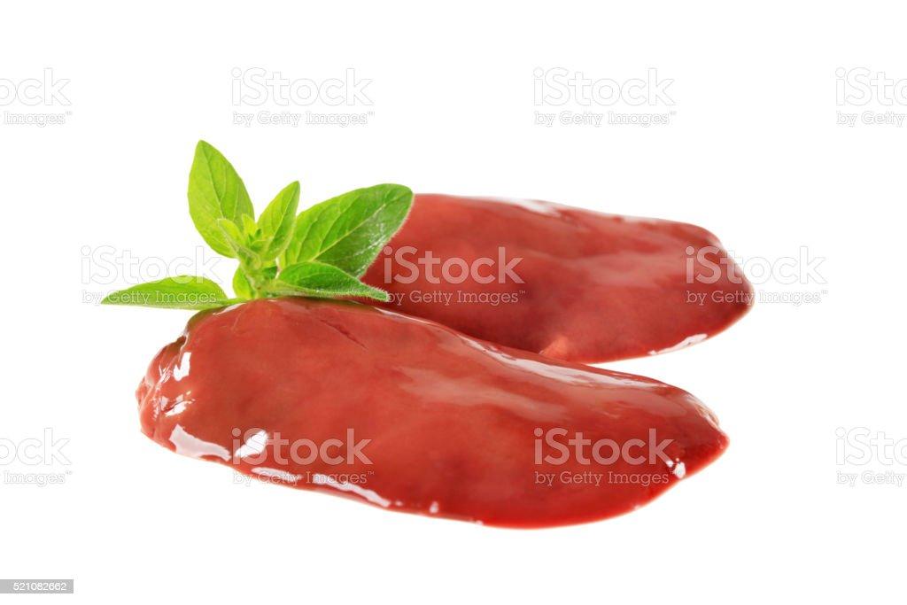 Raw chicken liver stock photo