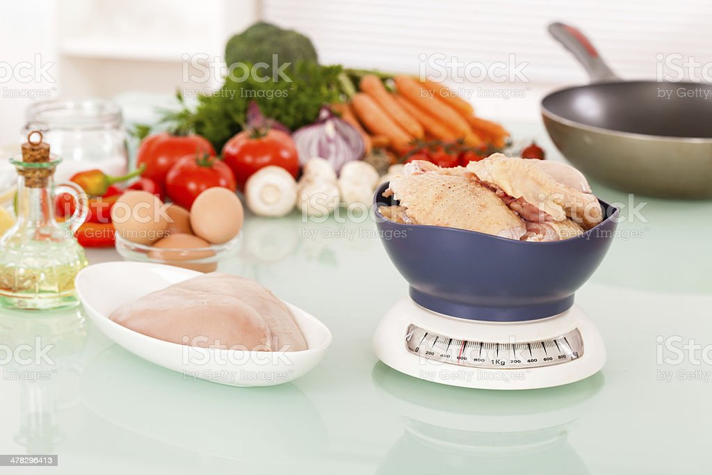 Raw chicken meat and vegetables royalty-free stock photo