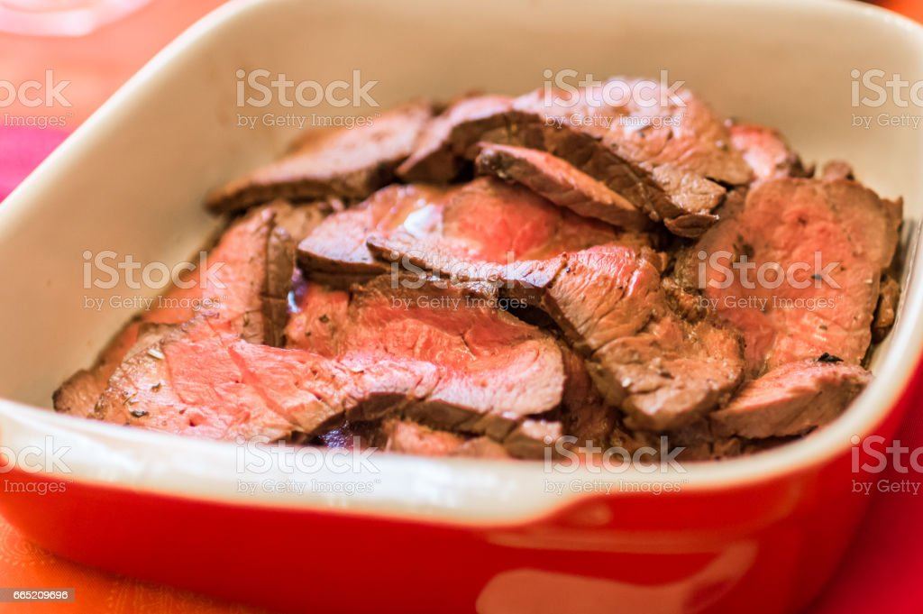 Raw chunks of meat stock photo