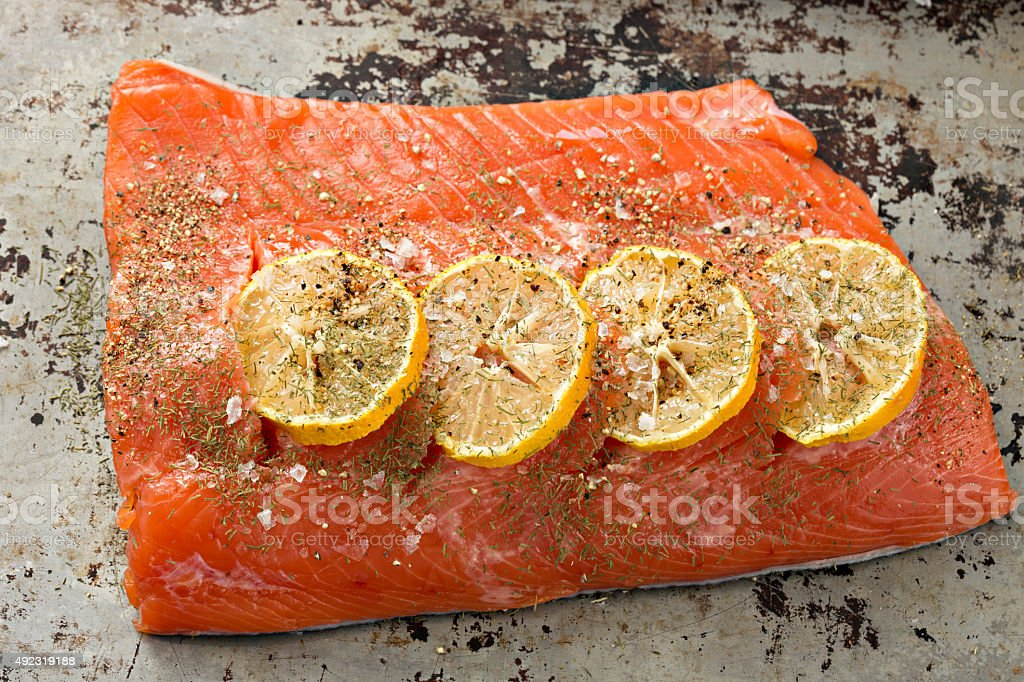 Raw Coho Salmon Ready For The Grill stock photo