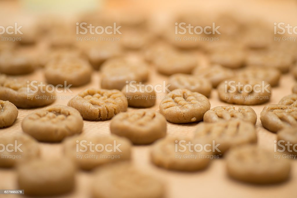 raw cookies with blurred background stock photo