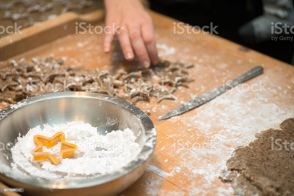 raw cookies with flour stock photo