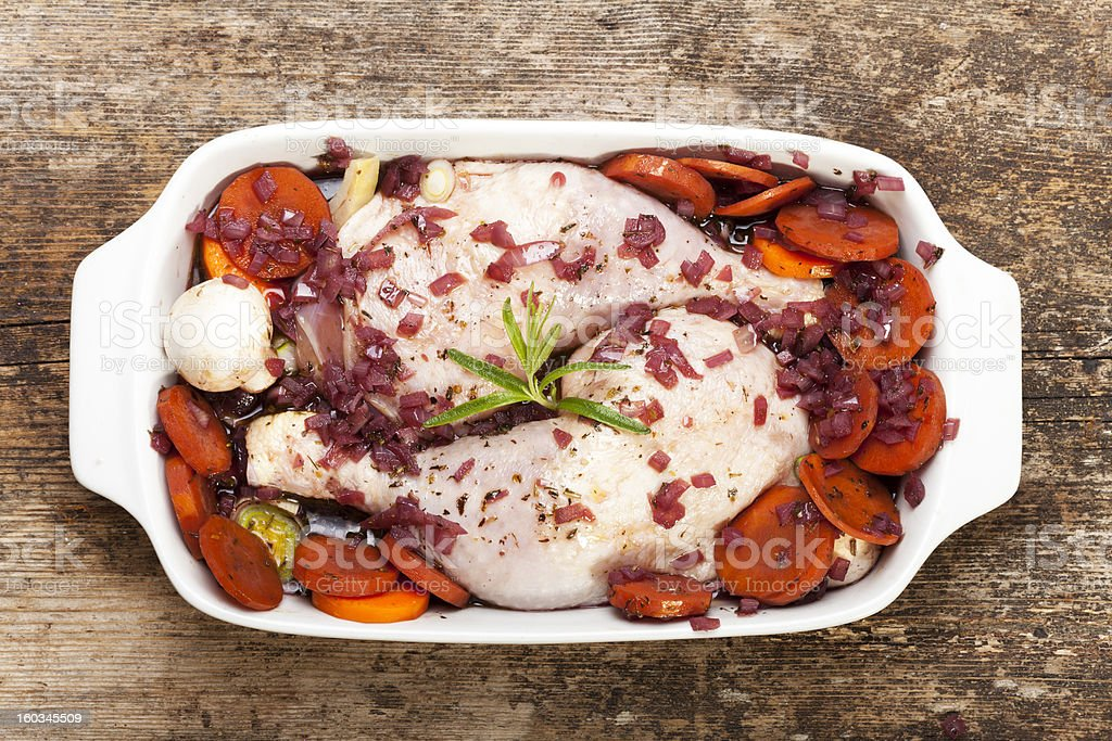 raw coq au vin royalty-free stock photo