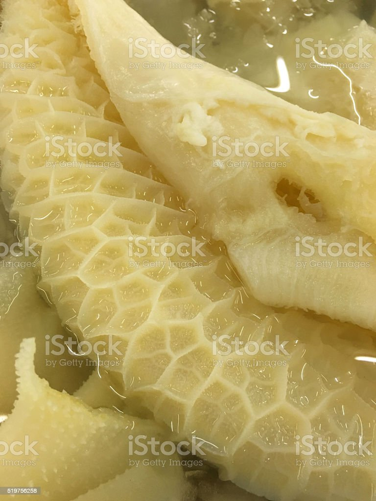 raw cow tripe in supermarket stock photo