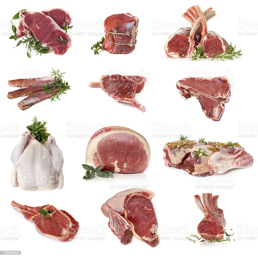 Raw cuts of meat displayed on white background stock photo