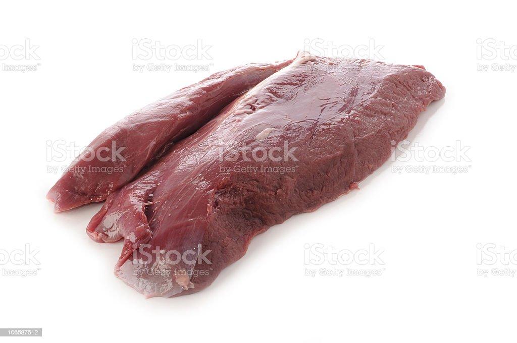 raw deer meat stock photo