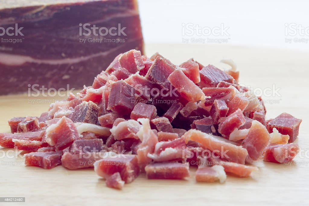 Raw diced bacon stock photo
