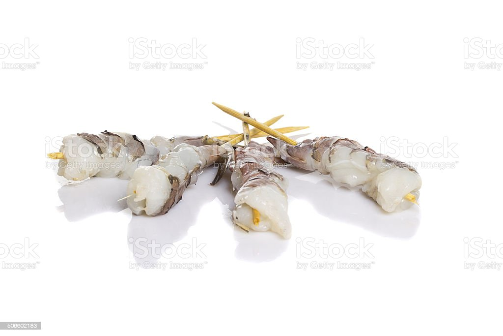 Raw eby shrimp isolated on white background. Shashlik vector art illustration