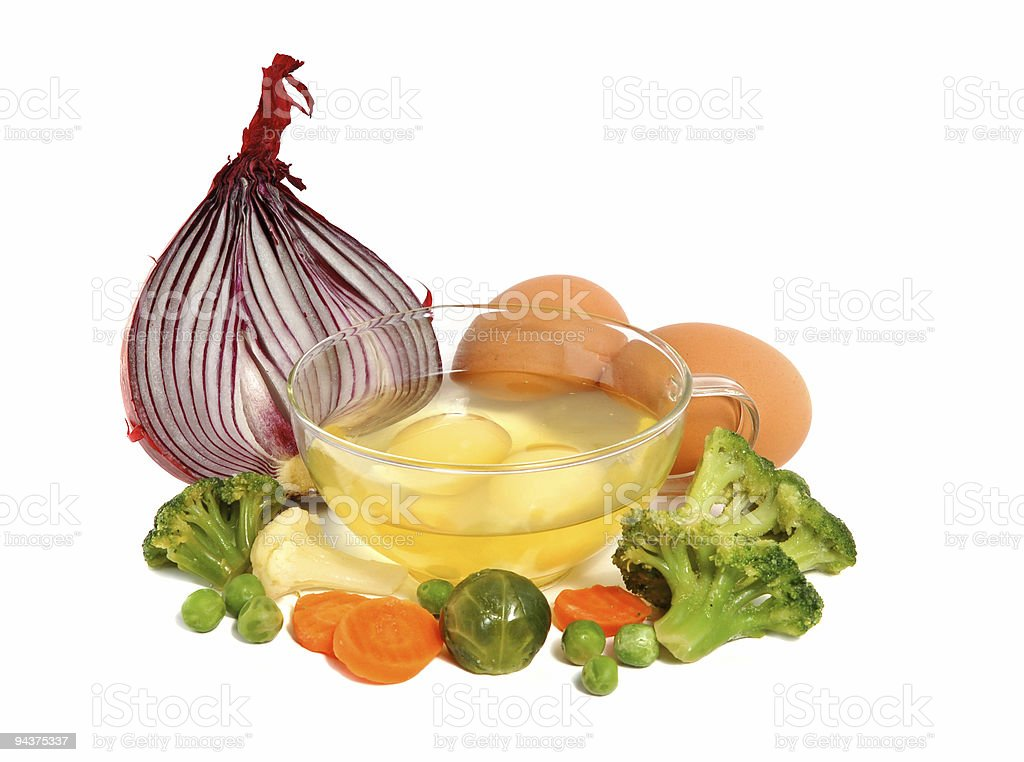 Raw eggs and different vegetables royalty-free stock photo
