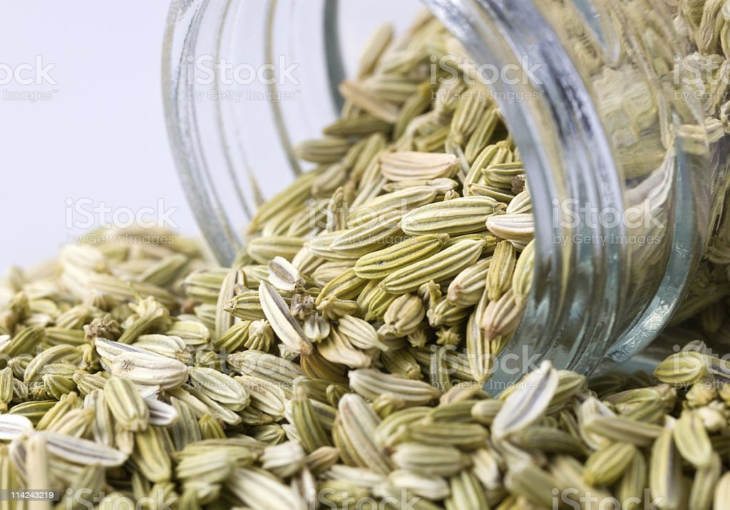 raw fennel seeds being poured out of a glass mason jar royalty-free stock photo