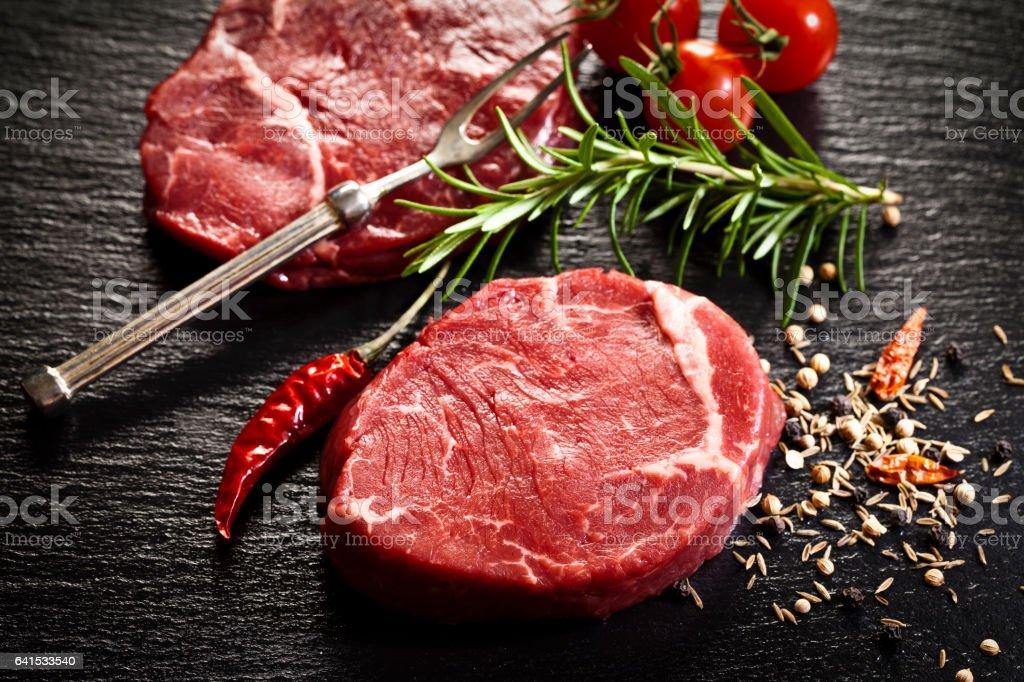 Raw filet mignon stock photo