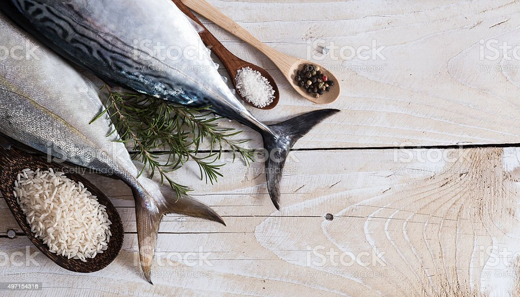 Raw fish, Bonito and Yellowtail, isolated on white stock photo